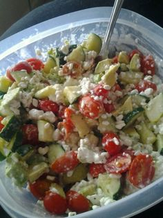 Avacodo salad! Cottage cheese, Cucumbers, Grape tomatoes, Avacado and a pinch of pepper!