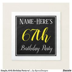 Shop Simple, Birthday Party w/ Custom Name Paper Napkins created by AponxDesigns. Personalize it with photos & text or purchase as is! 29th Birthday Parties, 60th Birthday Party, 33rd Birthday, Lowrider, Birthday Greeting Cards, Wrapping, Funny, Simple, Paper Napkins