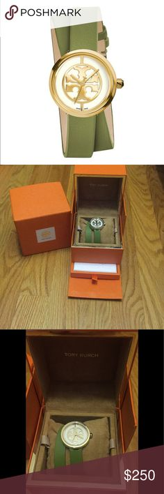 NWT- Tory Burch Double Wrap Watch NWT- Tory Burch Double Wrap Watch - perfect/never worn condition! - green band with gold accents - 28mm - all info in photos- storages boxes included - gorgeous addition to any wardrobe Tory Burch Accessories Watches
