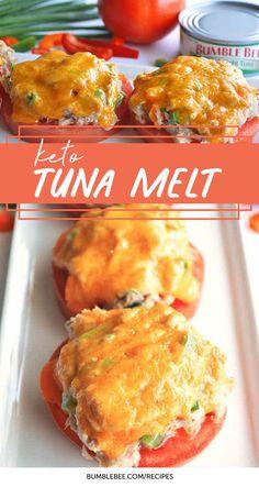 Tuna Melt Tomato slices act as a substitute for bread in this Keto Tuna Melt recipe.Tomato slices act as a substitute for bread in this Keto Tuna Melt recipe. Ketogenic Recipes, Low Carb Recipes, Diet Recipes, Healthy Recipes, Slimfast Recipes, Egg Recipes, Lunch Recipes, Recipes Dinner, Healthy Tuna Recipes