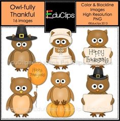 'Owl-fully Thankful' Owls Clip Art--FREE for 10/30/13 only!