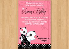 Panda Girl Baby Shower Invitation Custom by printablecandee, $10.00