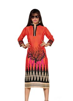 Orange Beautiful Cotton Printed Kurti gunjfashion.com