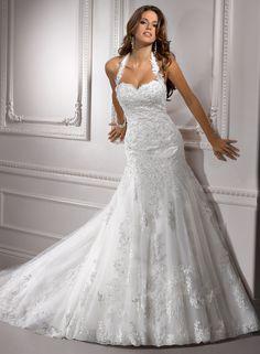 Lace halter top wedding dress, Maggie Sottero