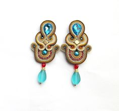 Soutache Earrings Hand Crafted Jewelry Clipon by StudioGianna, $45.00