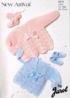 Jarol 610 baby matinee coat vintage knitting pattern by Ellisadine Baby Cardigan Knitting Pattern, Knitted Baby Cardigan, Baby Knitting Patterns, Baby Patterns, Vintage Patterns, Free Knitting, Crochet Patterns, Sock Knitting, Vogue Knitting