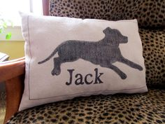 Cottage Hill: Dog Silhouette Pillow-  Just a plain old magic marker on dropcloth....so cute!