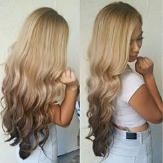 Long curly reverse ombre Hair in blonde #ReverseOmbre #CurlyHair #LongHair…