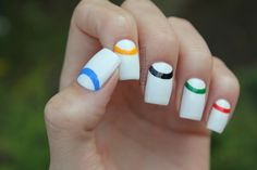 Olympic nails! But also like this idea in general. Could swap out the coloured arcs/rings for just one colour.