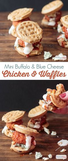 Hey football fans, check out this chicken and waffles recipe for mini buffalo-blue cheese bites. They're full of flavor and just the right size for snacking while tailgating or watching the Big Game. #GameDayTraditions #ad