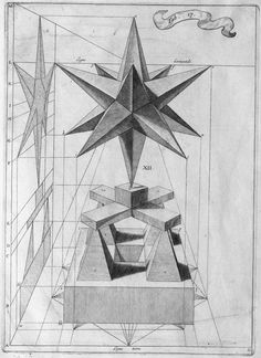 pointed solid shape on stand + corresponding geometric projection drawing