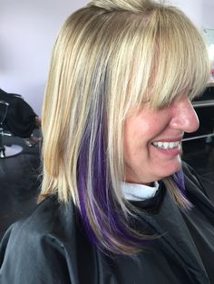 Exclusive, transformation, haircut, blonde, purple, peek a boo, purple hair, Bob, lob, long bob, cut, hair, short hair, long hair, medium hair, Titusville, Florida  On Facebook at : Hair by Karissa at etc hair studio