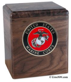 Urns Northwest  - The Freedom Urn, $169.00 (http://urnsnw.com/the-freedom-urn/) Walnut wood. Made in the USA. Choice of Army, Air Force, Navy, Marine Corps or Fire Department medallion.