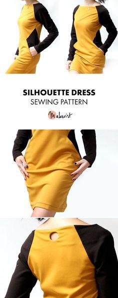 Silhouette Dress with Pockets - Sewing Pattern via Makerist.com   #dresspattern #sewingwithmakerist #diy #fashion #style #handmadewardrobe