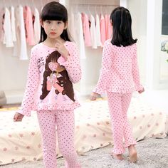 b9bea3624a New Spring Autumn Children s Sleepwear Cotton long-sleeves Shirt and Pant  Suit Girls Family Pajamas Kids 4-8 years old
