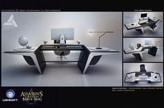 View an image titled 'Desk Design Art' in our Assassin's Creed IV: Black Flag art gallery featuring official character designs, concept art, and promo pictures. Office Table Design, Office Furniture Design, Interior Design Kitchen, Resolute Desk, Simple Computer Desk, Design Research, Modern Desk, Office Interiors, Oeuvre D'art