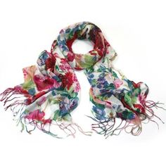 A pretty vintage style chintzy scarf that will make you dream of Summer Beautiful roses mallows and lilacs are scattered across a plain background of