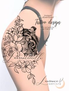 Thigh Sleeve Tattoo, Tiger Tattoo Thigh, Tiger Tattoo Sleeve, Girl Thigh Tattoos, Body Art Tattoos, Hand Tattoos, Sleeve Tattoos, Tattoo Ink, Arm Tattoo