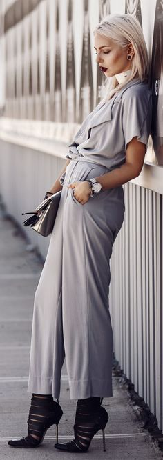 Masha Sedgwick Grey Flowy Jumpsuit fall autumn women fashion outfit clothing style apparel @roressclothes closet ideas