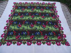 Vintage romanian wool shawl roumanie Russian Soviet Floral Shawl old shawl russian neckerchief Gift Wool LAINE Made in Japan HAND PRINTED by RussianshawlMayya on Etsy