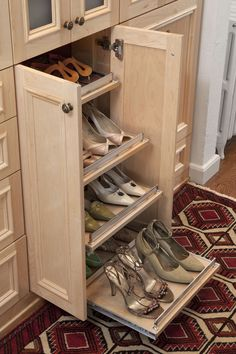 Natural Maple Wood Dressing Room with Front and Back Slide Out Shoe Shelves