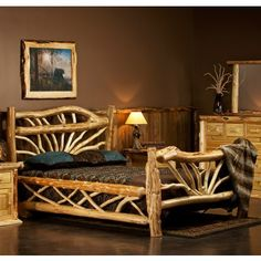 Rustic beds on pinterest log bed logs and aspen