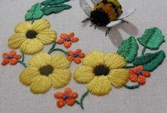 Объемная вышивка. Как вышить крылья бабочки, пчелы...