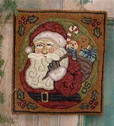 free rug hooking patterns | The Country Cupboard Christmas Santa Primitive Folk Art Rug Hooking