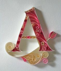 Paper quilling letters is one of the best way to use quilling ideas to make beautiful letters and patterns.Sabeena Karnik paper quilling is popular. Arte Quilling, Quilling Letters, Paper Quilling, Paper Letters, Fancy Letters, 3d Letters, Typography Served, Typography Art, Lettering