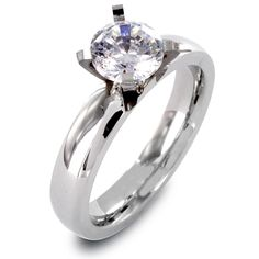 Clear CZ Solitaire Prong Set Ring, Women's