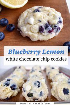 Lemon Cookies Easy, Lemon Cake Mix Cookies, Lemon Crinkle Cookies, Blueberry Cookies, Lemon Blueberry Muffins, Roll Cookies, Cookies Soft, White Chocolate Chip Cookies, Chocolate Chip Muffins