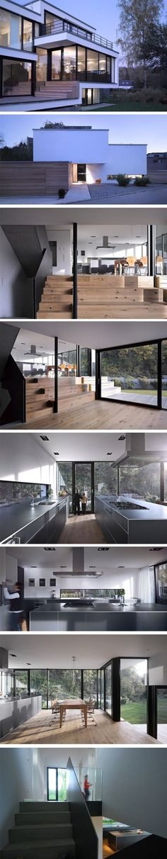Modern home with wood steel and glass that brings inside the natural surroundings.