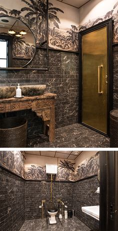 Luxurious toilet with black marble and wallpaper Brass details and black marble in this astonishing restroom that belongs to Restaurant Balthazar in Bor s Sweden toilet restroom bathroom wallpaper Marble Floor Kitchen, Black Marble Bathroom, Marble Bathroom Accessories, Marble Bathrooms, Restaurant Bad, Restaurant Bathroom, Toilet Restaurant, Bathroom Layout, Bathroom Interior Design