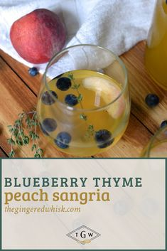 This smooth peach sangria is perfect for enjoying this summer! Studded with chardonnay, Peaches, Blueberries and a Thyme Simple Syrup, its easy to drink! Summer Sangria, Peach Sangria, Creative Desserts, Great Desserts, Kid Friendly Dinner, Kid Friendly Meals, Summer Dessert Recipes, Drink Recipes, Healthy Meals For Kids