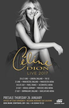 The 97 best whats on concerts images on pinterest in 2018 cline dion live 2017 uk and european summer tour legendary music icon cline dion m4hsunfo