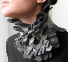 Grey Bird -- Felted Scarf and Flower Brooch -- made from wool -- Wearable Art