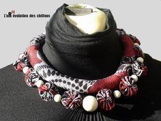 Collier Yoyos en tissu africai par L'aR(t)évolution des chiffons - thread&needles