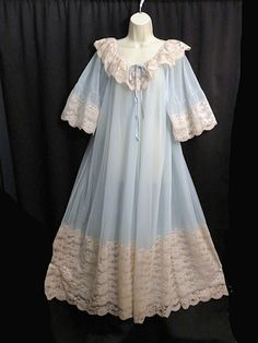 Vintage Intime California Peignoir Blue Sheer Lace Trim Double Layers Size  S. Sarah Rosen · Beautiful Nightgowns ... f714eef41