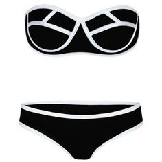 LUCLUC Black Bandeau Sexy Bandage Bikini Set ($13) ❤ liked on Polyvore featuring swimwear, bikinis, swim, swimsuits, swim suits, swimsuit bikini, bikini swimsuit, black bikini, bandage bikini and swimsuits two piece
