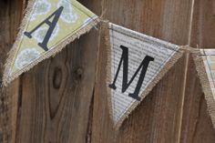 Burlap Banner with decorative papers Table Covers, Paper Decorations, Dinosaurs, Artsy Fartsy, Fabric Crafts, Signage, Burlap, Triangle, Banner