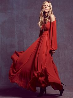 """""""Ruby Red Sun Maxi"""" in Chili by Free People"""