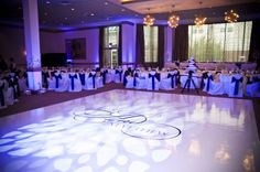 Uplighting and white dance floor
