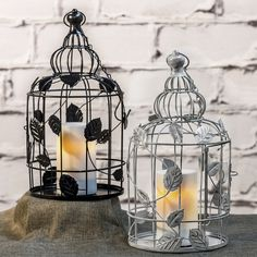 "Shabby Chic Vintage Birdcage + 6"" Outdoor Flameless Candle by Candle Impressions. Love that this can be used both inside and out, plus it comes with a built-in timer."