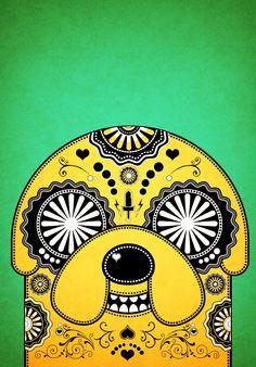 Jake Adventure Time Sugar Skull Poster - Green by PICKLEDLIVER.deviantart.com on @deviantART