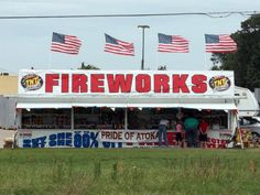 "Fireworks stand, Atoka, Oklahoma -- ""Patriotism is supporting your country all the time, and your government when it deserves it."" – Mark Twain"