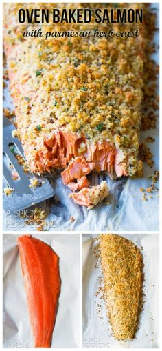 Oven Baked Salmon with Parmesan Herb Crust