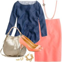 chambray & coral, created by shopwithm on Polyvore