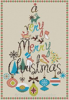 Christmas cross stitch pattern Merry by CrossStitchObsession