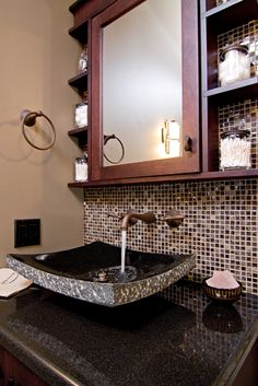 Stone Forest sink and custom mirror unit