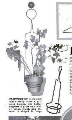 Wire hanger crafts from the past. Vintage flower pot holder diy